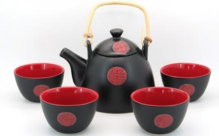 Black and red tea set Shantou