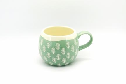 Στρογγυλή πράσινη κεραμική κούπα mug Ben